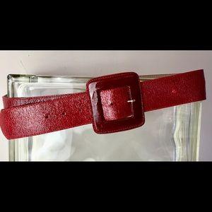 CACHE Vintage wide Red crinkled leather belt Large